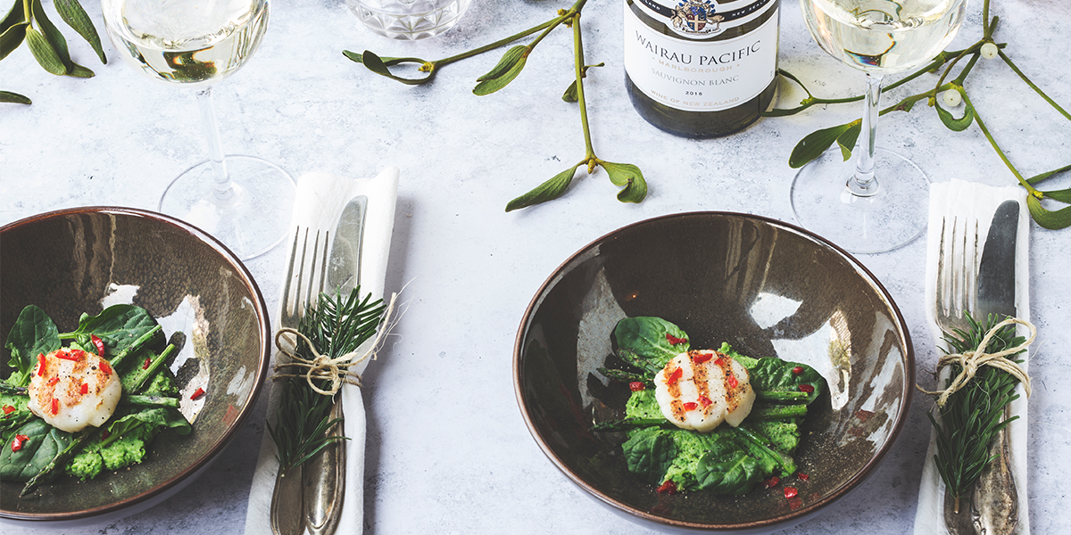 Coquilles met Asperges en Doperwtenpuree Voorgerecht Kerst - Wairau Sauvignon Blanc Nieuw-Zeeland 3